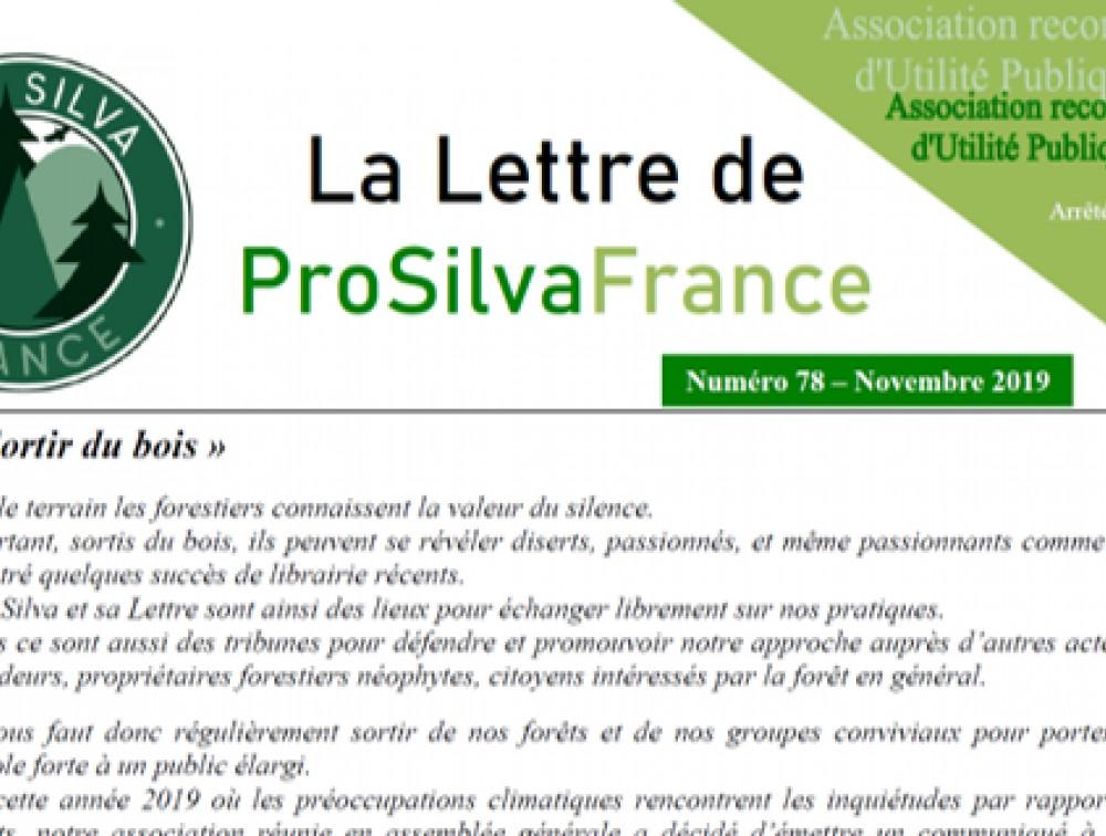 Mise en ligne de la Lettre de Pro Silva France N°78 (novembre 2019)